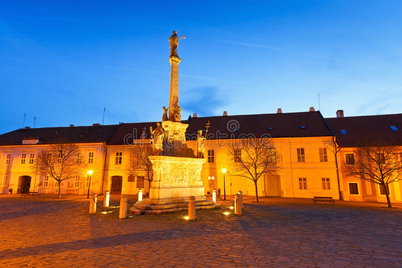 Trnava, Slovakia. Monument and Historic architecture in a square in Trnava, Slovakia royalty free stock photo