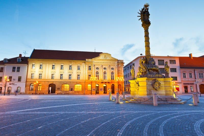 Trnava, Slovakia. Monument in the main square of Trnava, Slovakia stock image