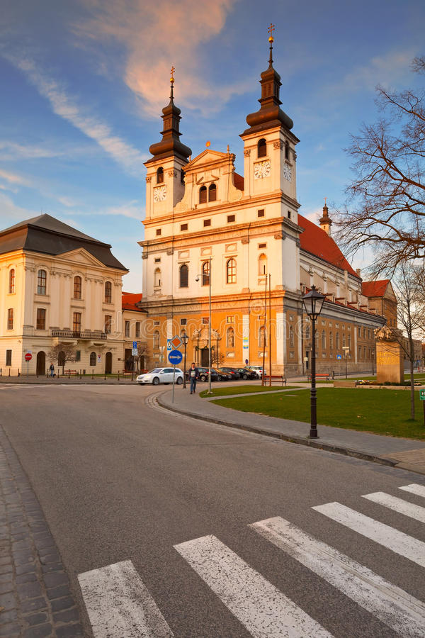 Trnava, Slovakia. Saint Nicolas' Cathedral in Trnava in eastern Slovakia stock photo