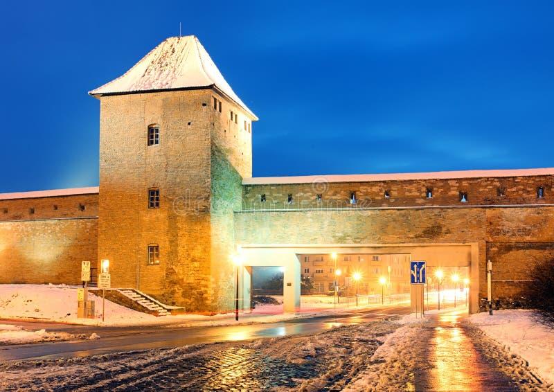 Trnava walls, Slovakia. At night stock photography