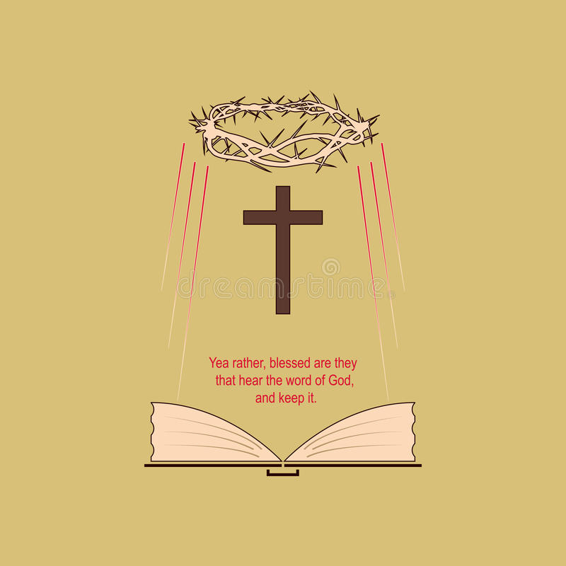 tro för bibelbokkristen som hans heliga viktigt mest föreställer royaltyfri illustrationer