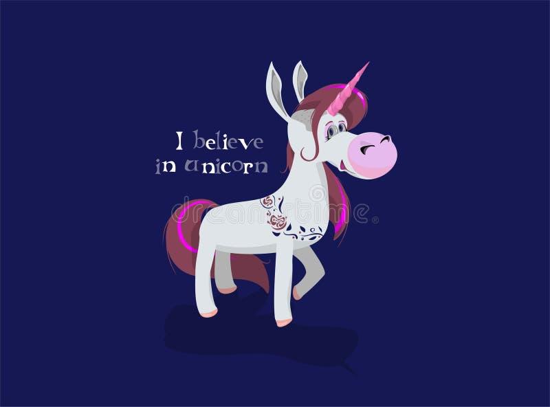 Tro i enhörningar Häst med det färgrika hornet stock illustrationer