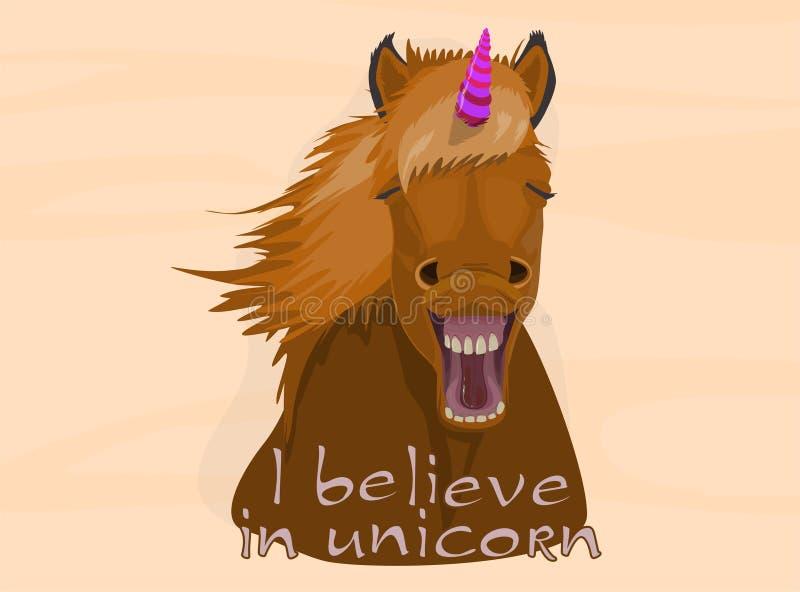 Tro i enhörningar Häst med det färgrika hornet vektor illustrationer
