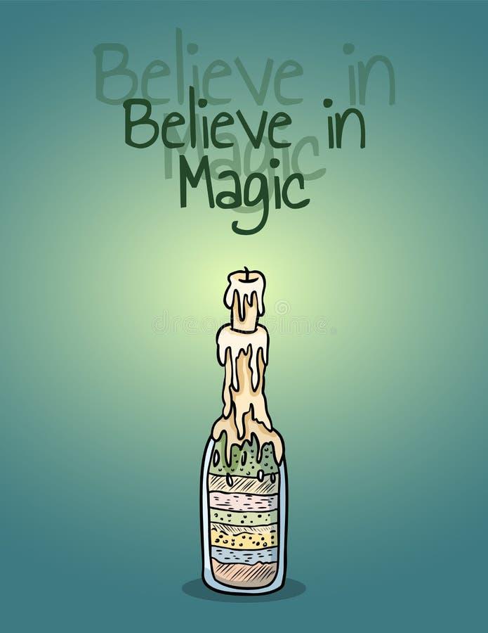 Tro i magisk affisch f?r h?xaflaskstearinljus Ljusa skuggor p? v?ggen royaltyfri illustrationer