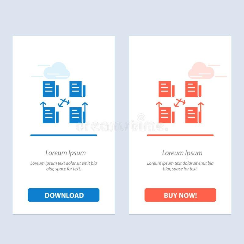Troca, arquivo, dobrador, dados, azul da privacidade e transferência vermelha e para comprar agora o molde do cartão do Widget da ilustração royalty free