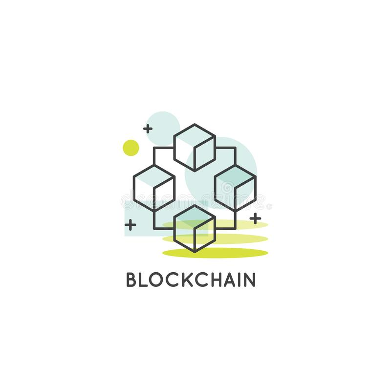 Troca, compra e venda de Blockchain Cryptocurrency, lista continuamente crescente de conceito dos registros ilustração stock