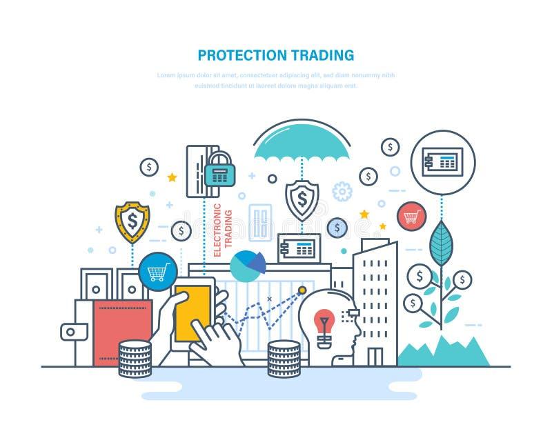 Troca da proteção Mercado de valores de ação financeiro, comércio eletrônico, mercados de capital, troca de comércio ilustração royalty free
