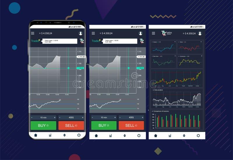 Troca de comércio app em telas do telefone ilustração do vetor