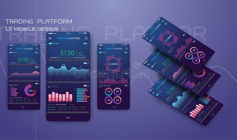 Troca de comércio app na tela do telefone Ui móvel do cryptocurrency da operação bancária Vetor em linha da relação da compra e v ilustração stock