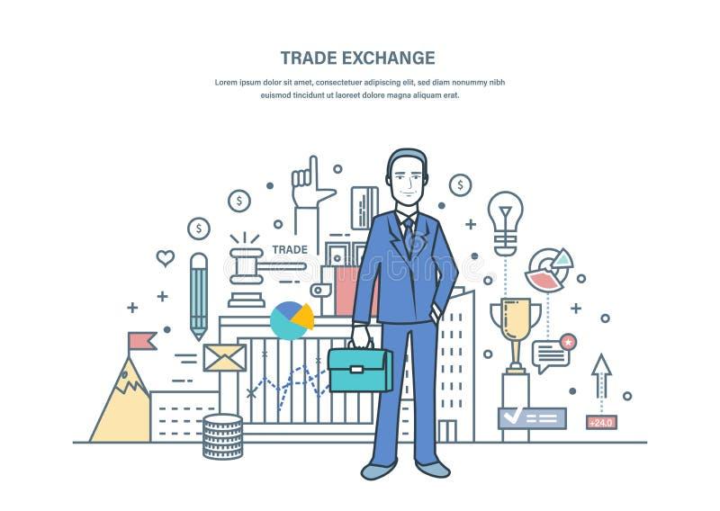 Troca de comércio, leilões, mercado de câbio, proteção dos comércios ilustração royalty free