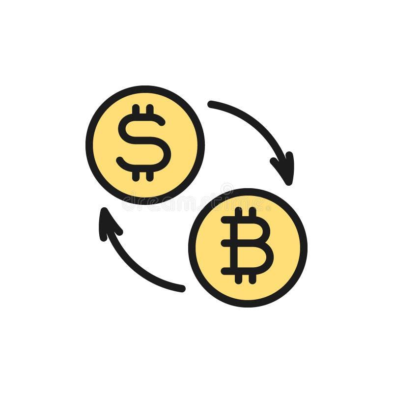 Troca de Cryptocurrency, moeda do bitcoin com ícone liso da cor do sinal de dólar ilustração royalty free