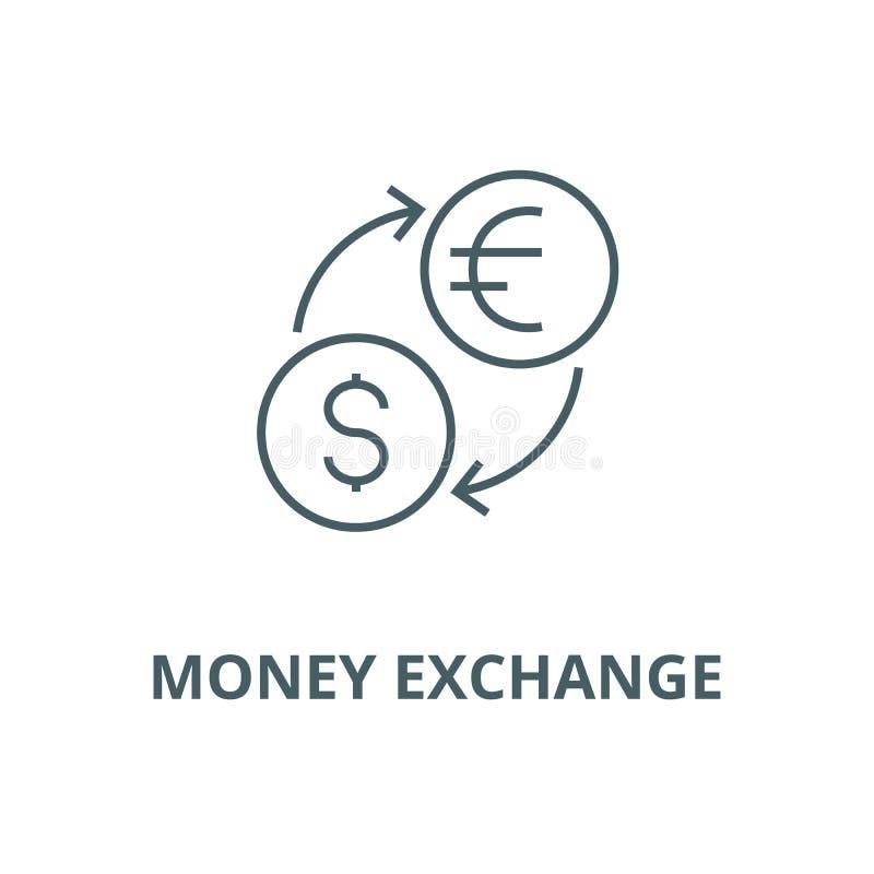 Troca de dinheiro, dólar, euro- linha ícone do vetor, conceito linear, sinal do esboço, símbolo ilustração stock