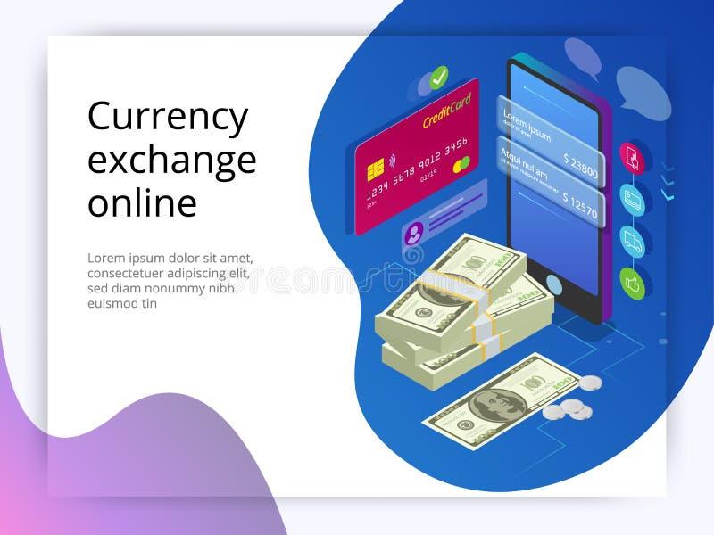 Troca de Isometriccurrency em linha Conceito em linha da relação de transferência de dinheiro Tecnologia moderna e transação em l ilustração do vetor