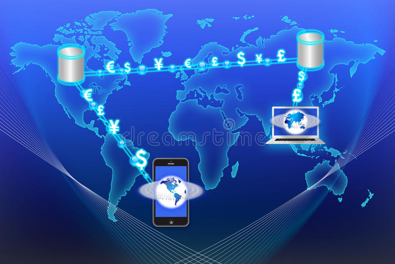 Troca de moeda da tecnologia do córrego de dados ilustração royalty free