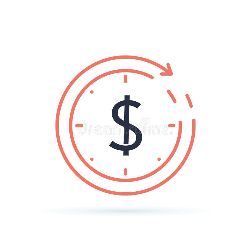 Troca de moeda, do dinheiro empréstimo rápido para trás, hipoteca para refinanciar e reembolsar o conceito do seguro, negócio da  ilustração stock
