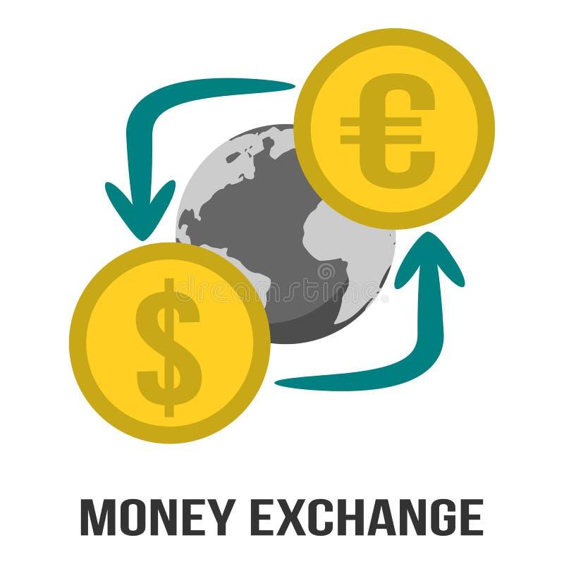 Troca de moeda do dinheiro no dólar & no Euro com globo no centro do símbolo do sinal ilustração do vetor