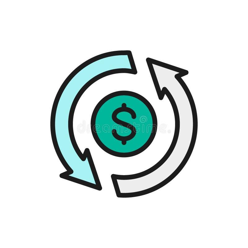 Troca de moeda do vetor, converso, dinheiro para trás, linha de cor lisa ícone do empréstimo rápido ilustração stock