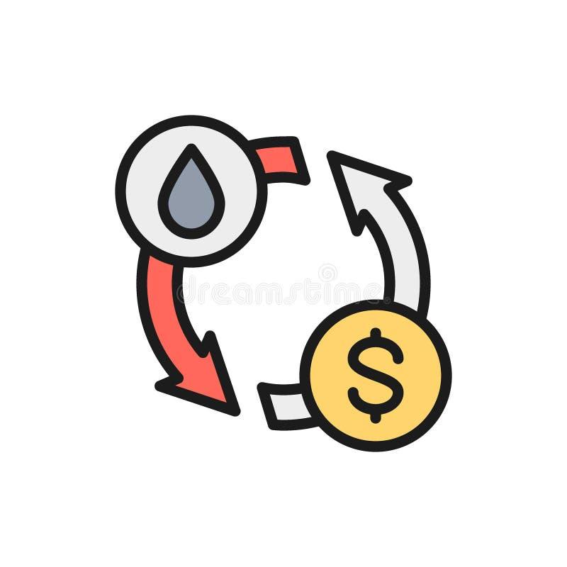 Troca do óleo do vetor, transferência da água, linha de cor lisa ícone do converso ilustração stock