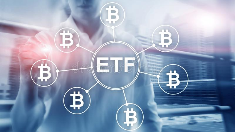 Troca do cryptocurrency de Bitcoin ETF e conceito do investimento no fundo da exposi??o dobro fotografia de stock
