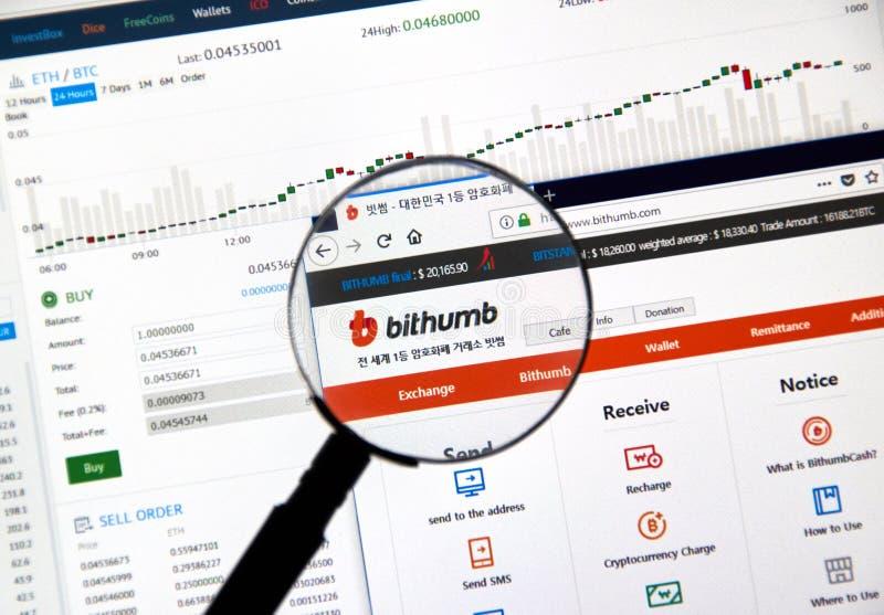 Troca do cryptocurrency de Bithumb imagens de stock