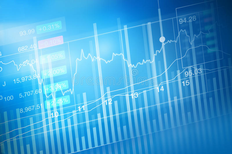 Troca do investimento do mercado de valores de ação, carta do gráfico da vara da vela, tendência do gráfico, ponto com tendência  ilustração do vetor