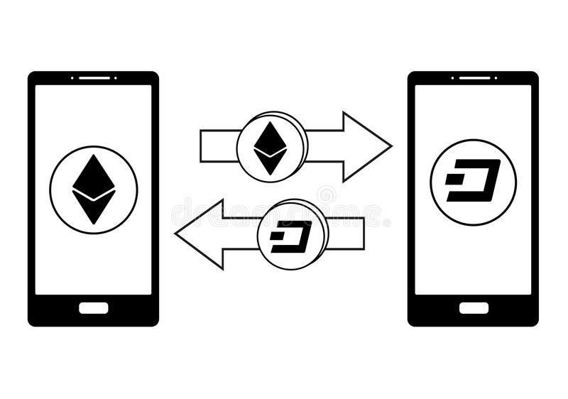 Troca entre o ethereum e o traço no telefone ilustração royalty free
