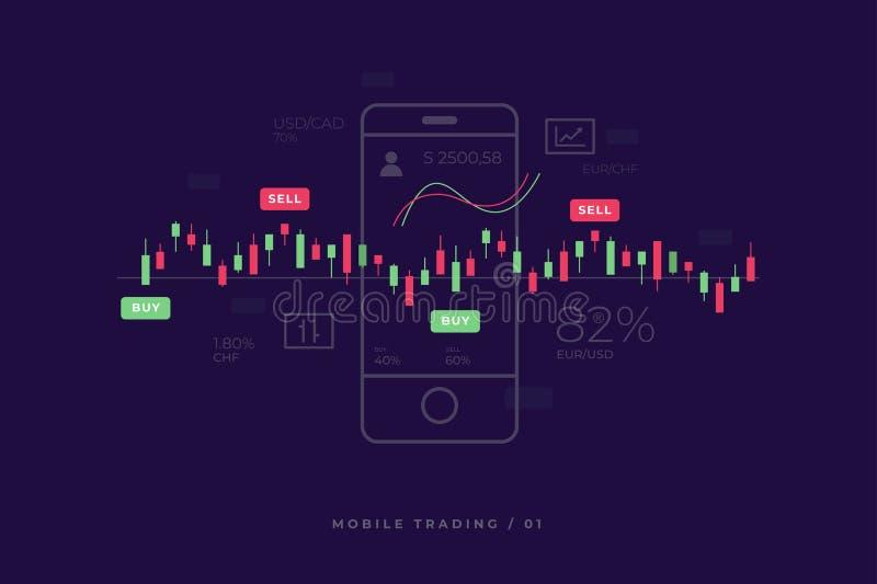 Troca móvel do investimento do mercado de valores de ação Analítica financeira ilustração royalty free