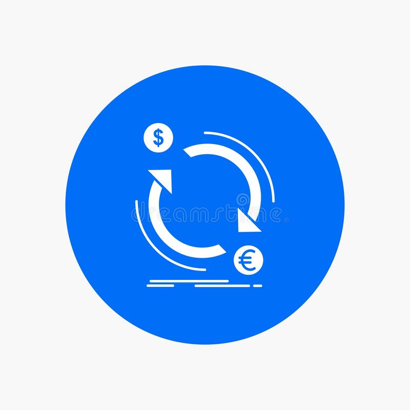 troca, moeda, finança, dinheiro, ícone branco do Glyph do converso no círculo Ilustra??o do bot?o do vetor ilustração stock