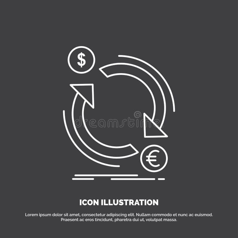 troca, moeda, finança, dinheiro, ícone do converso Linha s?mbolo do vetor para UI e UX, Web site ou aplica??o m?vel ilustração stock