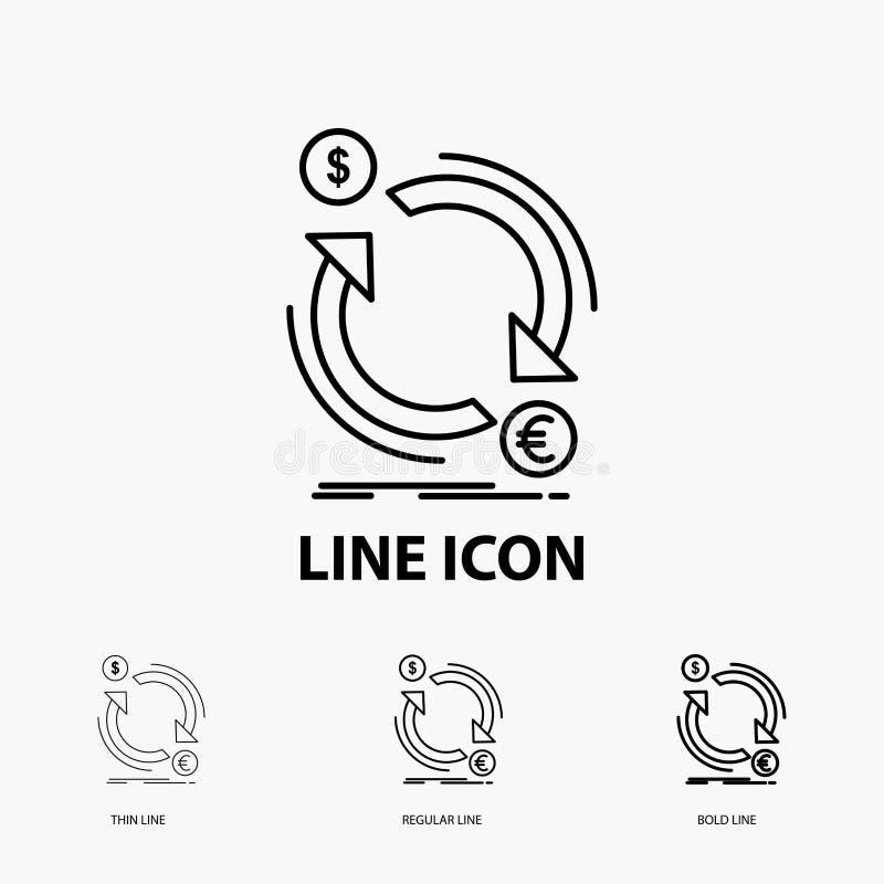 troca, moeda, finança, dinheiro, ícone do converso na linha estilo fina, regular e corajosa Ilustra??o do vetor ilustração stock