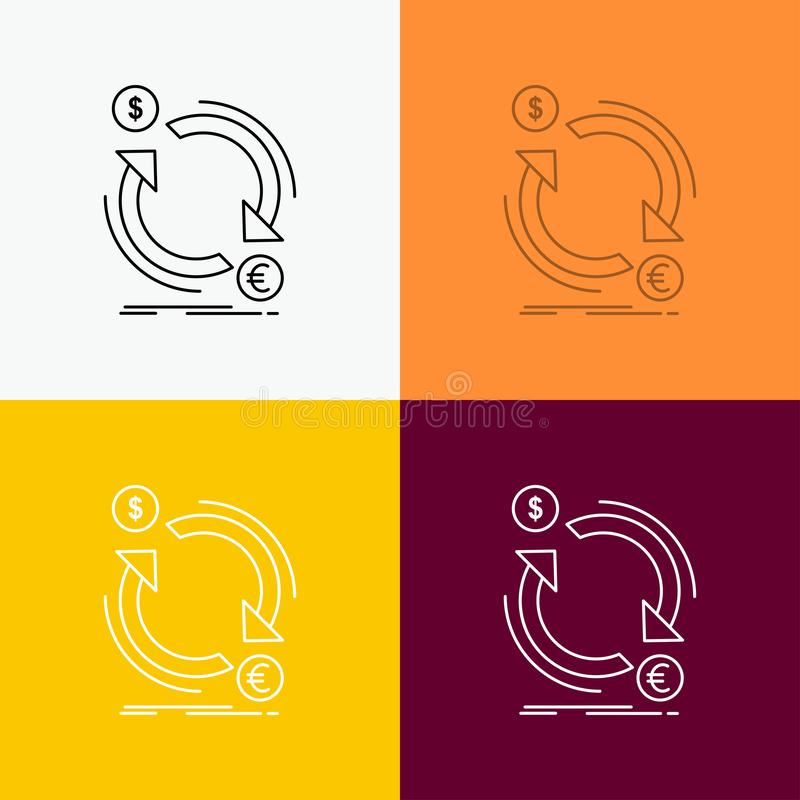 troca, moeda, finança, dinheiro, ícone do converso sobre o vário fundo Linha projeto do estilo, projetado para a Web e o app Eps  ilustração do vetor