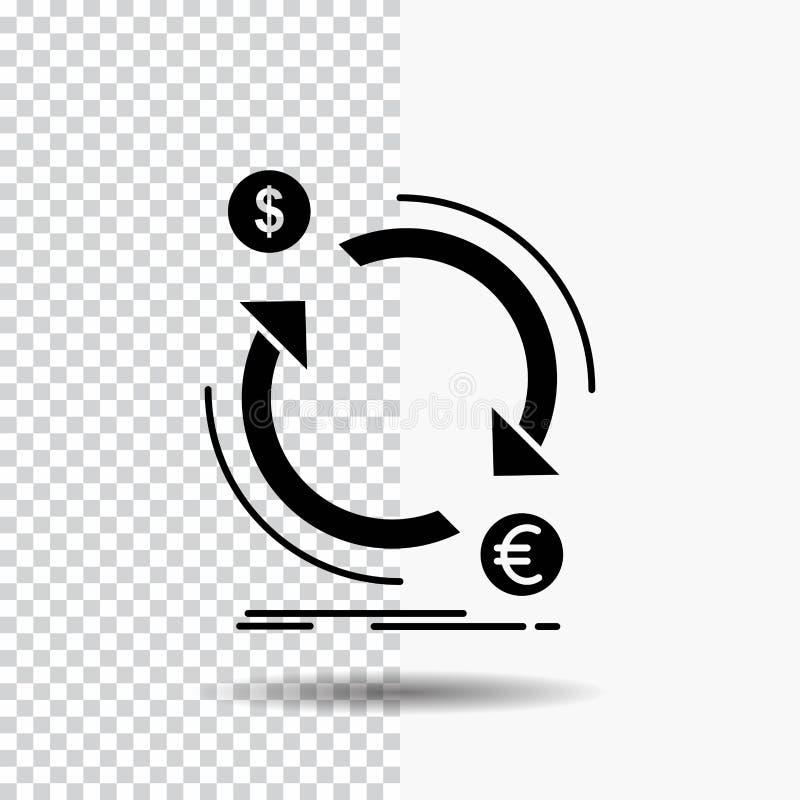 troca, moeda, finança, dinheiro, ícone do Glyph do converso no fundo transparente ?cone preto ilustração royalty free