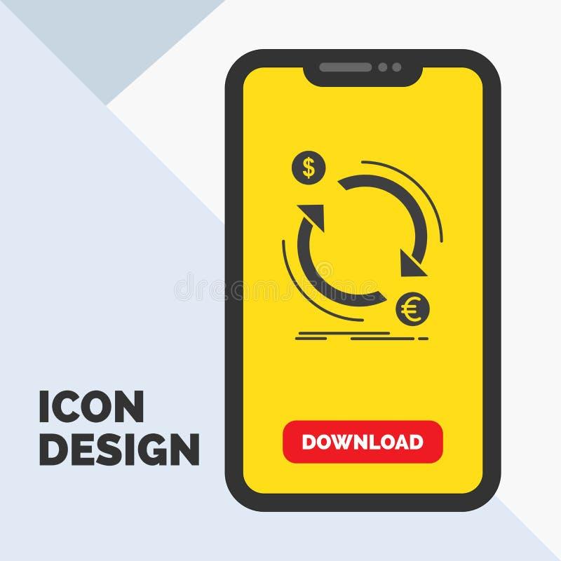 troca, moeda, finança, dinheiro, ícone do Glyph do converso no móbil para a página da transferência Fundo amarelo ilustração stock