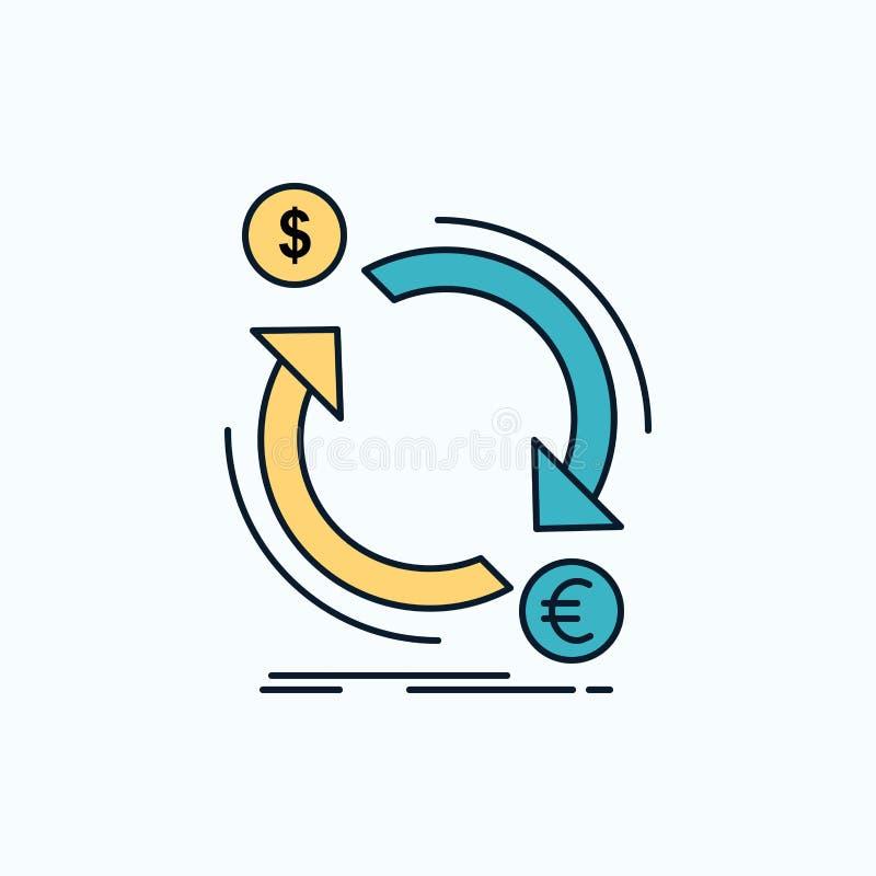 troca, moeda, finança, dinheiro, ícone liso do converso sinal e s?mbolos verdes e amarelos para o Web site e o appliation m?vel V ilustração stock