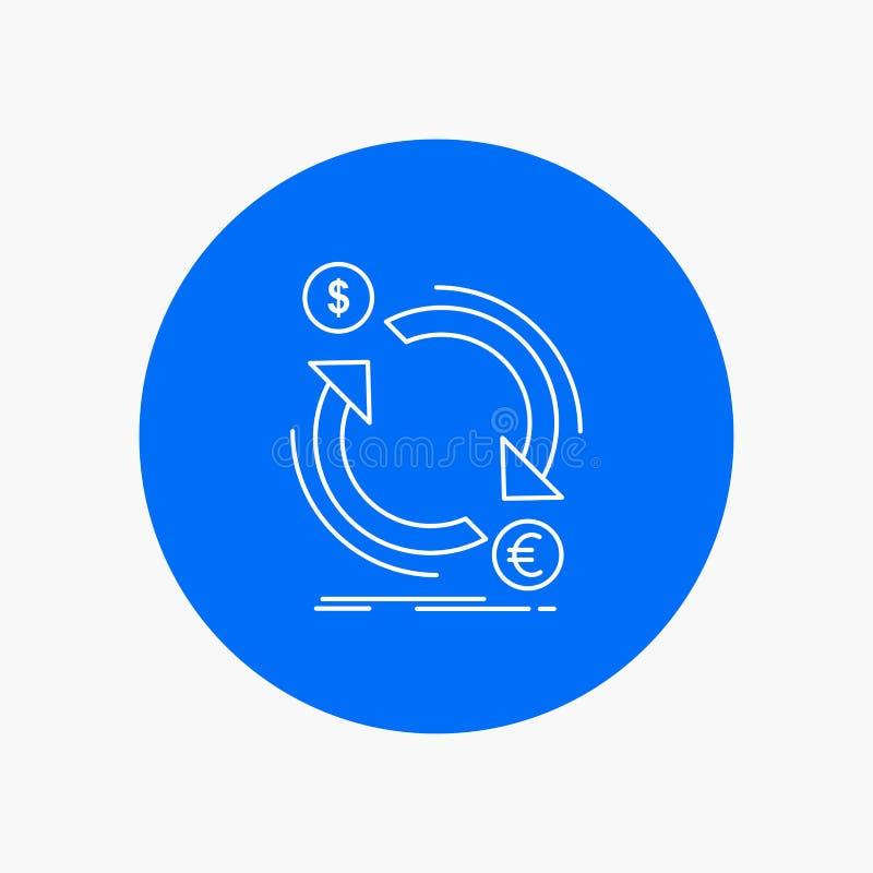troca, moeda, finança, dinheiro, linha branca ícone do converso no fundo do círculo Ilustra??o do ?cone do vetor ilustração do vetor