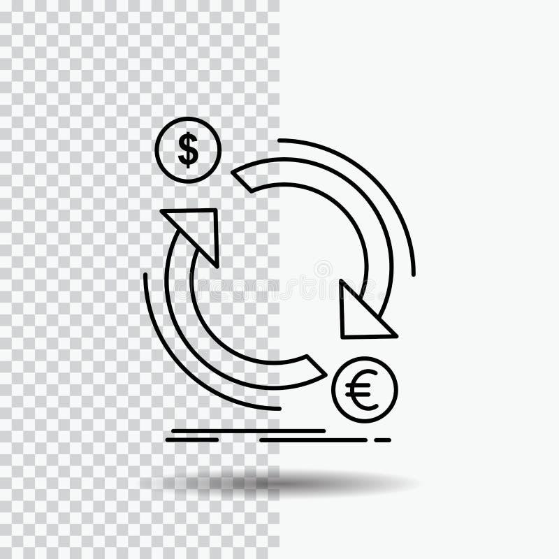 troca, moeda, finança, dinheiro, linha de converso ícone no fundo transparente Ilustra??o preta do vetor do ?cone ilustração do vetor