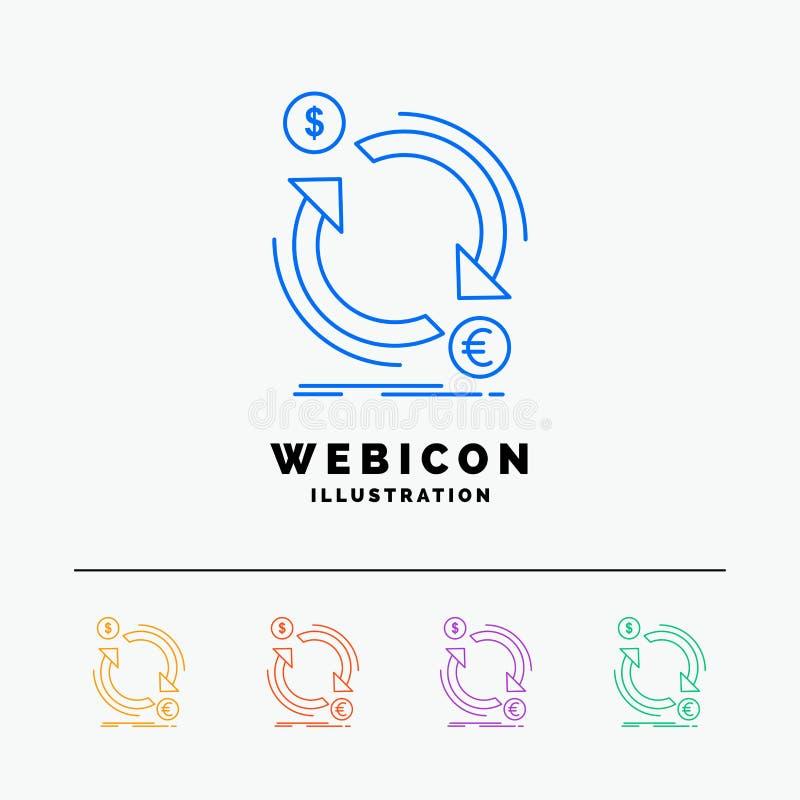 troca, moeda, finança, dinheiro, linha de cor molde do converso 5 do ícone da Web isolado no branco Ilustra??o do vetor ilustração do vetor