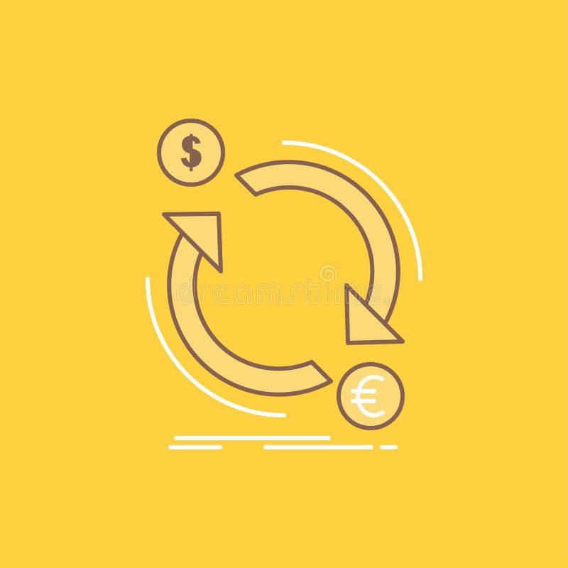 a troca, moeda, finança, dinheiro, linha lisa do converso encheu o ícone Bot?o bonito do logotipo sobre o fundo amarelo para UI e ilustração stock