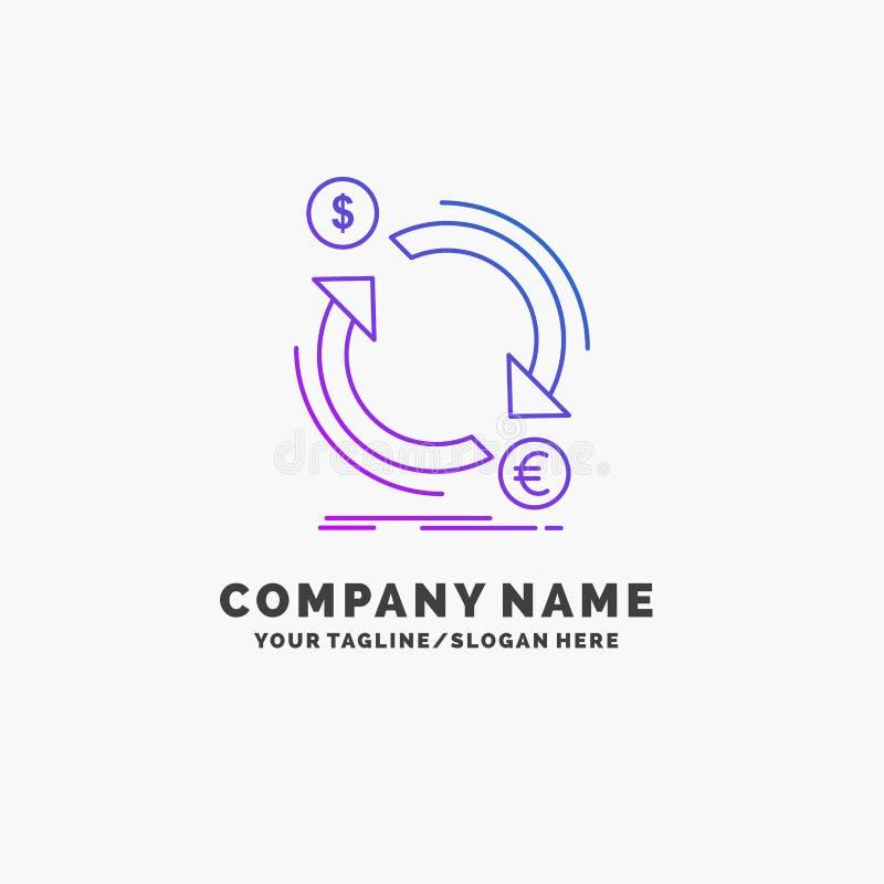 troca, moeda, finança, dinheiro, negócio roxo Logo Template do converso Lugar para o Tagline ilustração stock