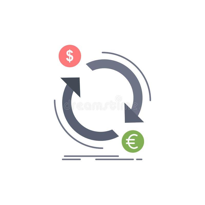 troca, moeda, finança, dinheiro, vetor liso do ícone da cor do converso ilustração royalty free
