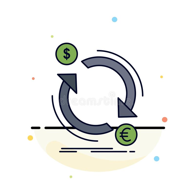 troca, moeda, finança, dinheiro, vetor liso do ícone da cor do converso ilustração do vetor