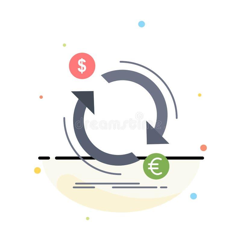 troca, moeda, finança, dinheiro, vetor liso do ícone da cor do converso ilustração stock