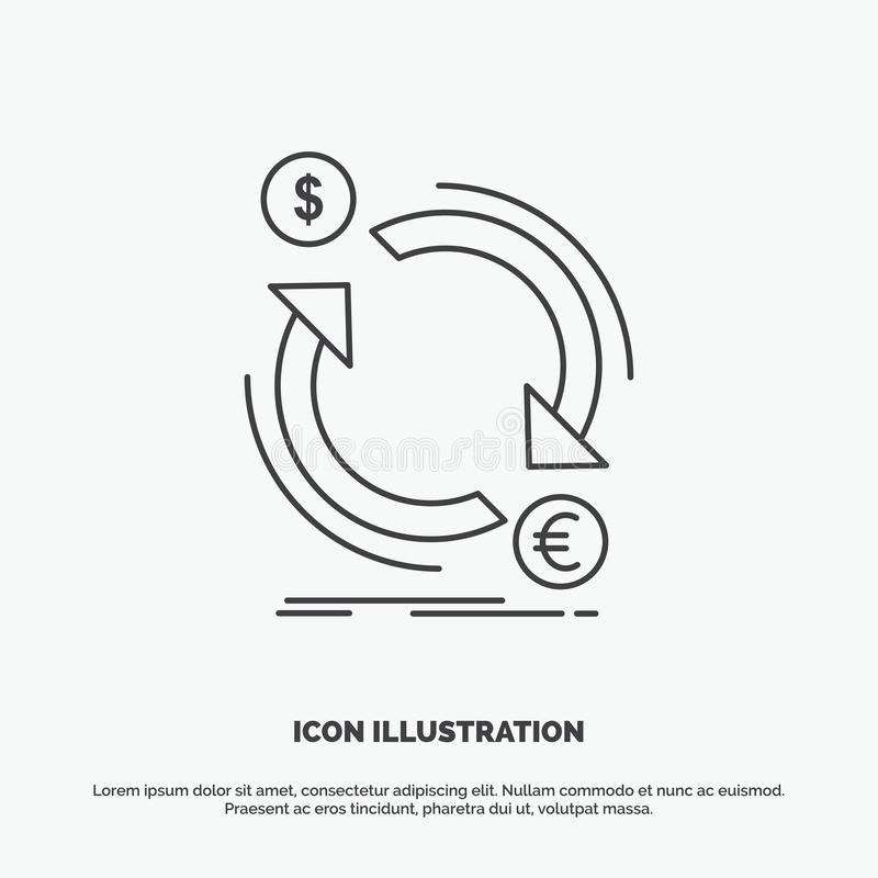 troca, moeda, finan?a, dinheiro, ?cone do converso Linha s?mbolo cinzento do vetor para UI e UX, Web site ou aplica??o m?vel ilustração do vetor