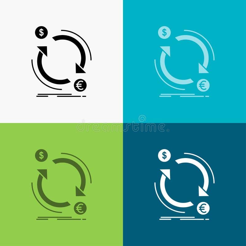 troca, moeda, finan?a, dinheiro, ?cone do converso sobre o v?rio fundo projeto do estilo do glyph, projetado para a Web e o app E ilustração stock