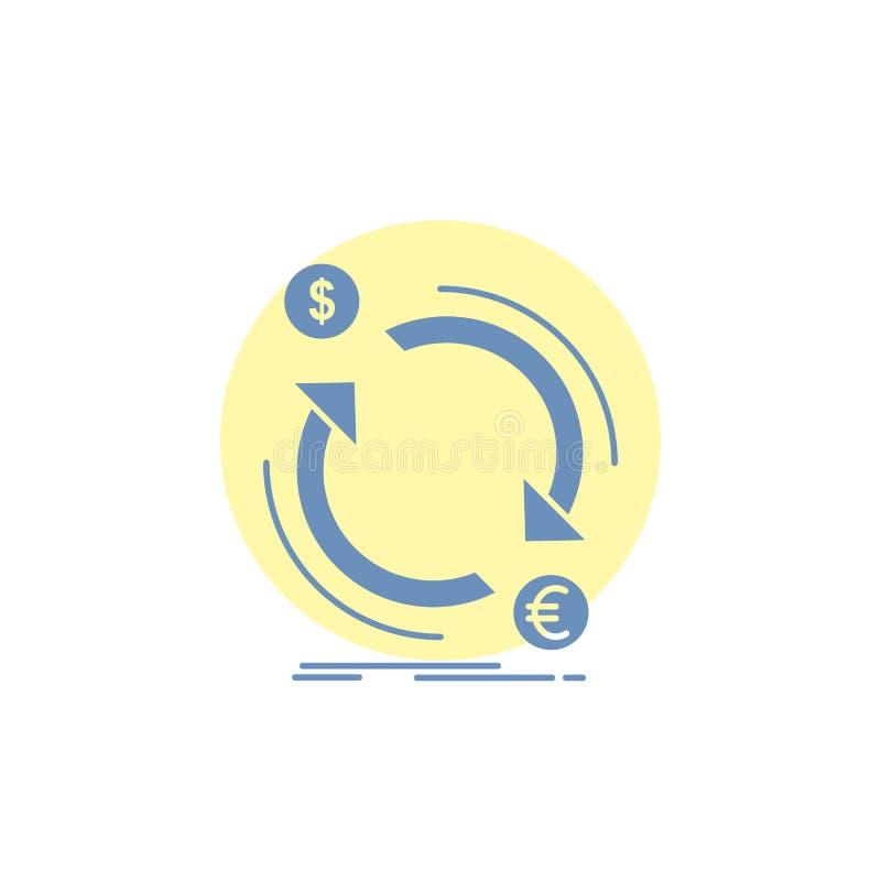 troca, moeda, finan?a, dinheiro, ?cone do Glyph do converso ilustração royalty free