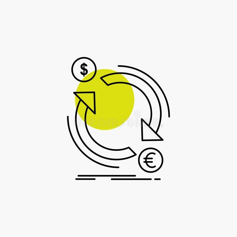 troca, moeda, finan?a, dinheiro, linha de converso ?cone ilustração stock