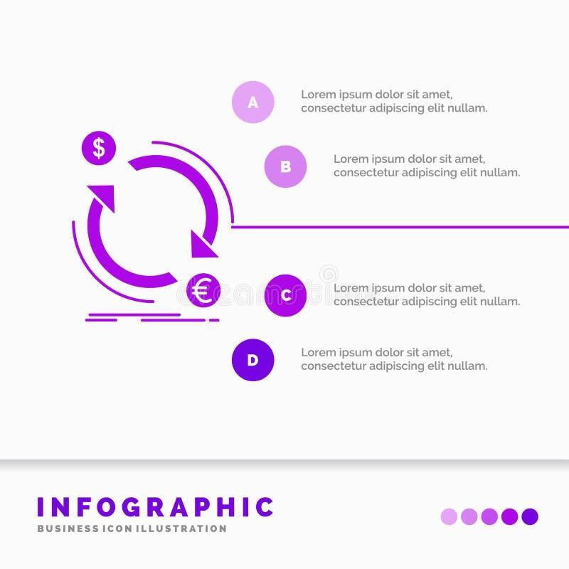 troca, moeda, finan?a, dinheiro, molde de Infographics do converso para o Web site e apresenta??o ?cone roxo do GLyph infographic ilustração stock