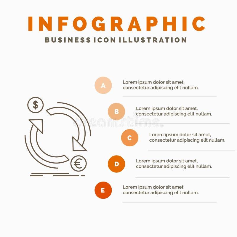 troca, moeda, finan?a, dinheiro, molde de Infographics do converso para o Web site e apresenta??o Linha ?cone cinzento com laranj ilustração stock