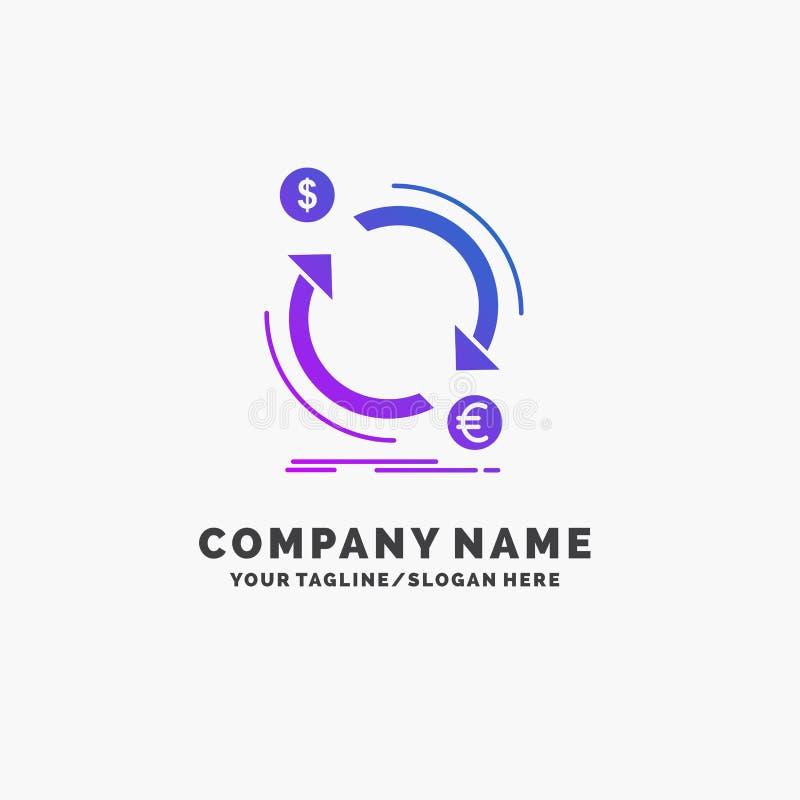 troca, moeda, finan?a, dinheiro, neg?cio roxo Logo Template do converso Lugar para o Tagline ilustração do vetor
