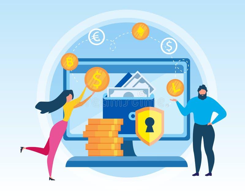 Troca virtual de Cryptocurrency da carteira da mulher do homem ilustração royalty free